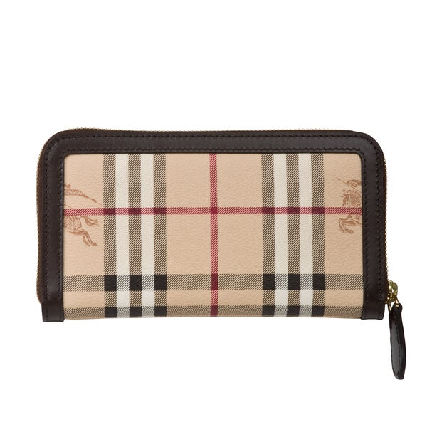 Burberry Embossed Leather Zip Around Wallet: Burberry 3640455 Haymarket Large Ziggy Zip-around Wallet
