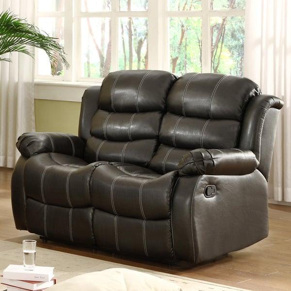 Buxton Black Bonded Leather Loveseat