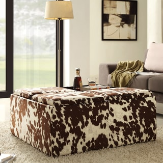 Decor Brown White Cow Hide Storage Ottoman by iNSPIRE Q Bold
