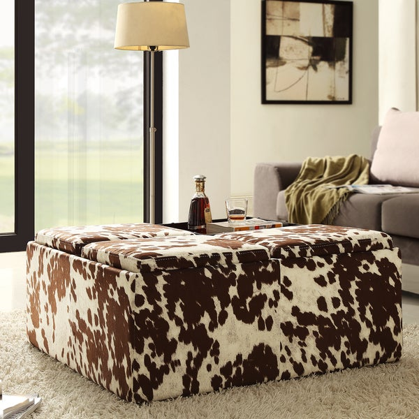 Shop Decor Brown White Cow Hide Storage Ottoman By INSPIRE