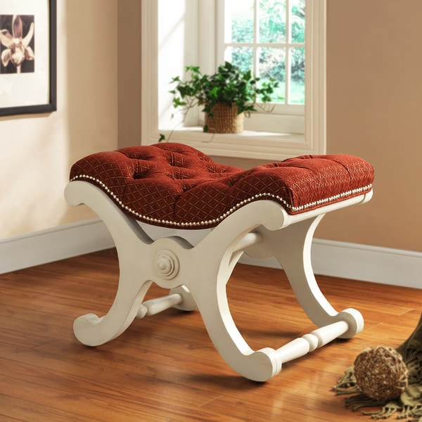 TRIBECCA HOME Imperial Red Fabric White Bench with Nailhead Detail