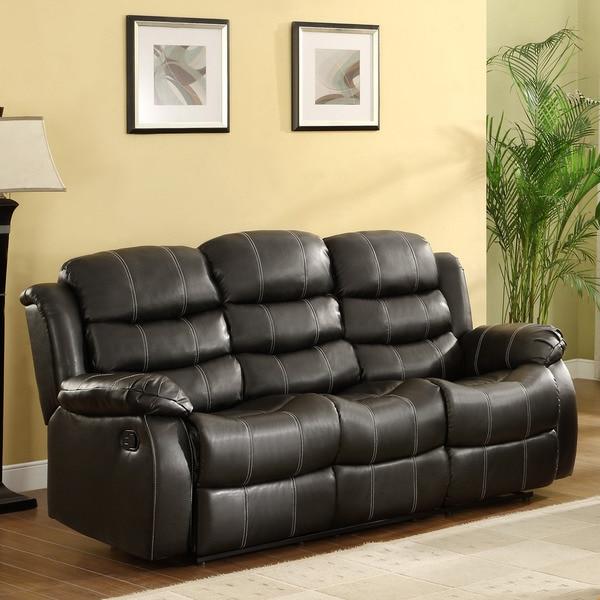 Buxton Black Bonded Leather Sofa