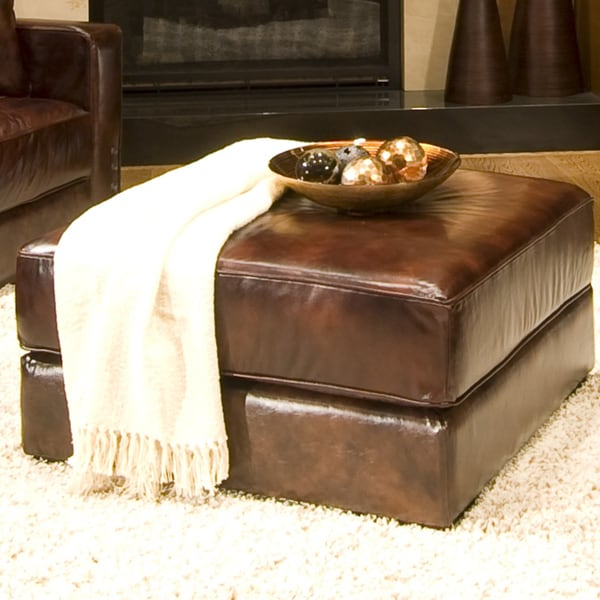 Elements Fine Home Furnishings Laguna Top Grain Leather Cocktail Ottoman