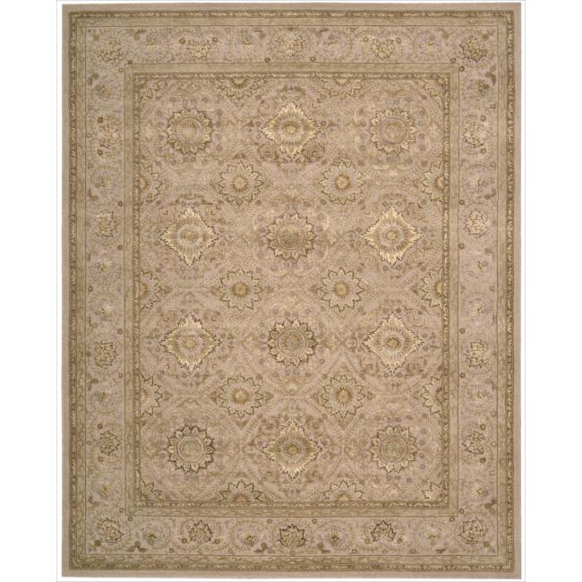 Nourison 3000 Hand-Tufted Beige Floral Wool Rug (3'9 x 5'9)