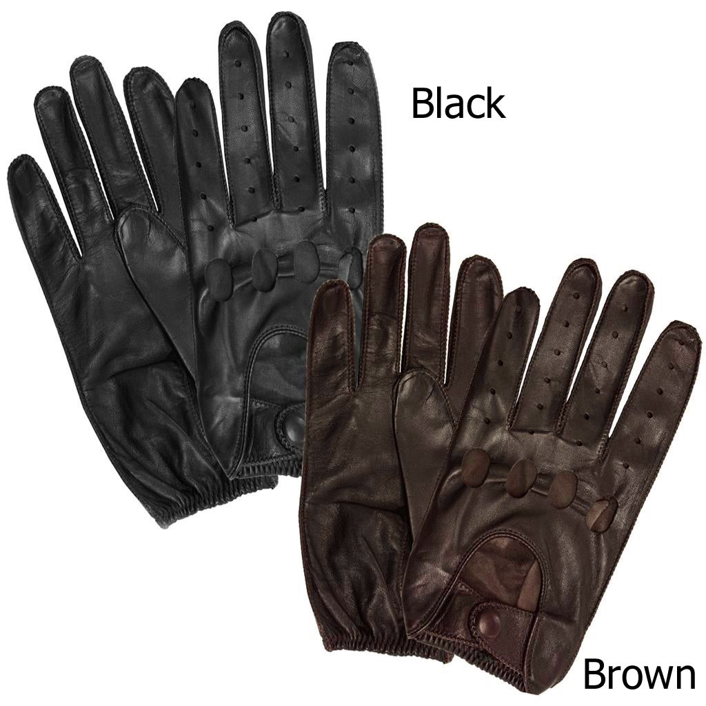 Isotoner Men's Leather Unlined Driving Gloves (Brown - XL)