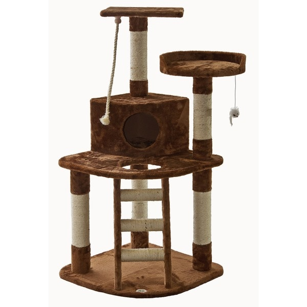 Go Pet Club Cat Tree Furniture Brown 47 inches High