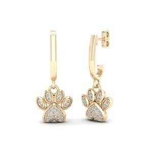 De Couer IGI Certified 10k Gold 1/10ct TDW Diamond Paw Print Earrings