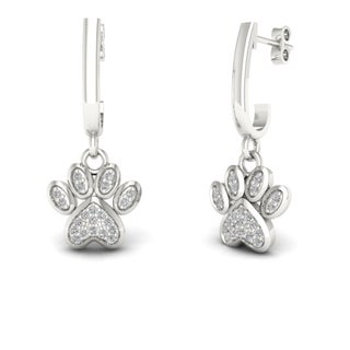 De Couer 10k Gold 1/10ct TDW Diamond Paw Print Earrings (3 options available)