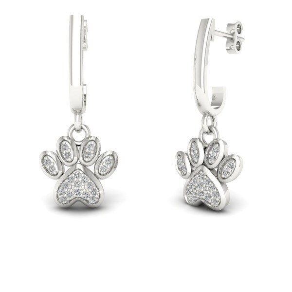 De Couer Igi Certified 10k Gold 1 10ct Tdw Diamond Paw Print Earrings