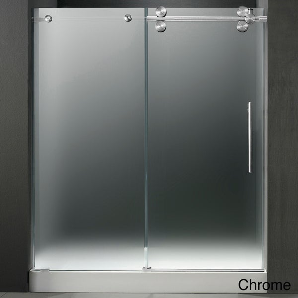 VIGO Right Sided Frameless Shower Door/ White Base Center Drain