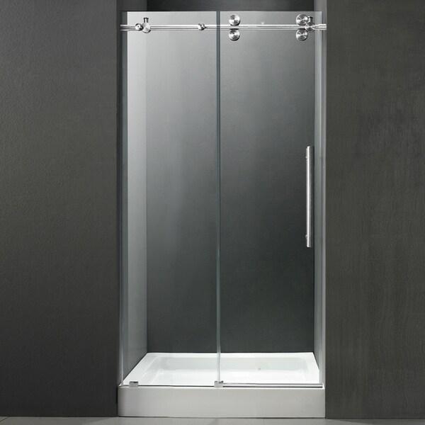 VIGO Frameless Right Sided Shower Door/ White Base Center Drain