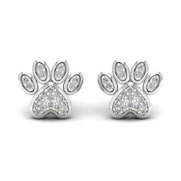 De Couer 10k White Gold 1 10ct Tdw Diamond Dog Paw Print Earrings