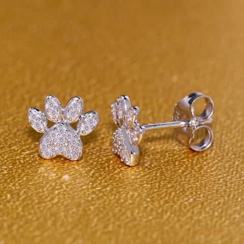 De Couer IGI Certified 10k White Gold 1/10ct TDW Diamond Dog Paw Print Earrings - White H-I