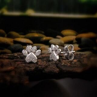 De Couer 10k White Gold 1/10ct TDW Diamond Dog Paw Print Earrings - White H-I