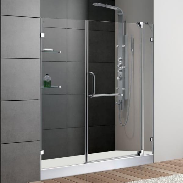 VIGO 60-Inch Frameless Acrylic Shower Door 0.375-Inch Clear Glass With White Base