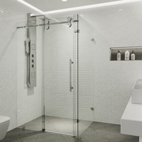 VIGO Winslow Clear Frameless Sliding Door Shower Enclosure