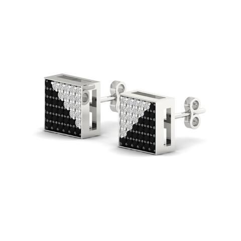 De Couer 10k White Gold 1/3ct TDW Black and White Diamond Earrings
