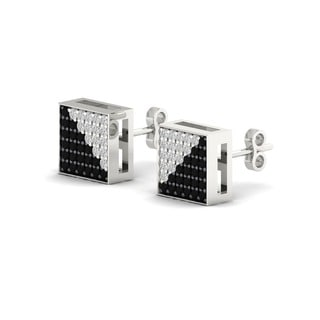 De Couer 10k White Gold 1/3ct TDW Black and White Diamond Earrings (H-I, I2)