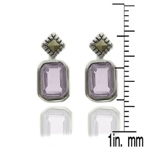 Dolce Giavonna Silverplated Gemstone and Marcasite Stud Earrings