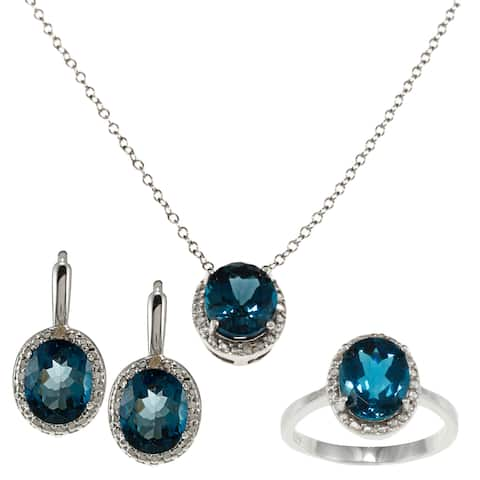 Sterling Silver London Blue Topaz and Diamond Accent Ring, Earring, and Pendant