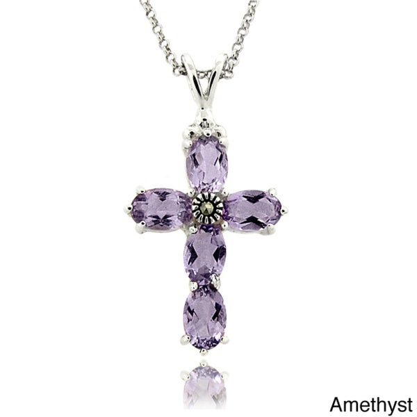 Dolce Giavonna Silver Overlay Amethyst and Marcasite Cross Necklace