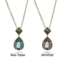 Dolce Giavonna Silverplated Gemstone and Marcasite Teardrop Necklace