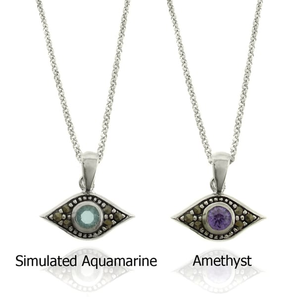 Dolce Giavonna Silverplated Gemstone and Marcasite Evil Eye Necklace