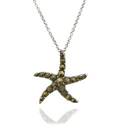 Dolce Giavonna Silver Overlay Marcasite Starfish Necklace