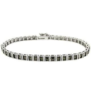 Dolce Giavonna Silverplated Marcasite Bar Link Bracelet
