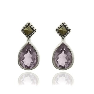 Dolce Giavonna Silverplated Gemstone and Marcasite Teardrop Earrings