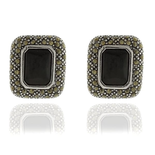 Dolce Giavonna Silverplated Black Onyx and Marcasite Earrings