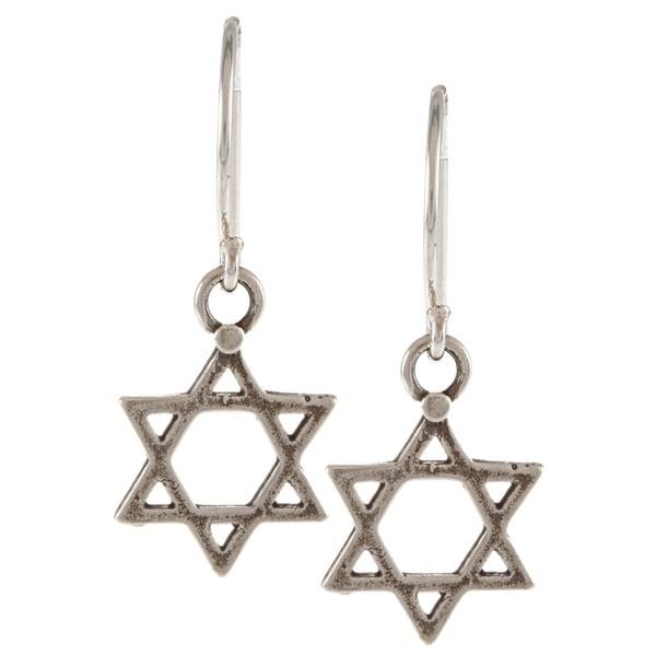 Silver-plated Star of David Hook Earrings (Israel)