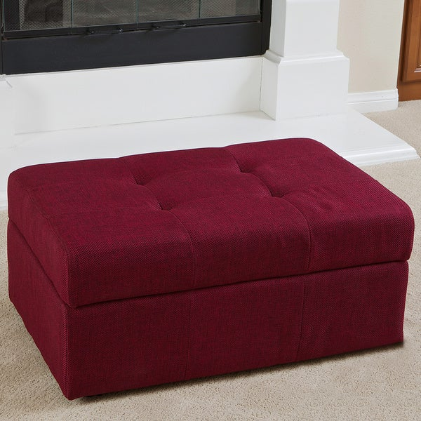 Veranda Red Fabric Storage Ottoman by Christopher Knight Home