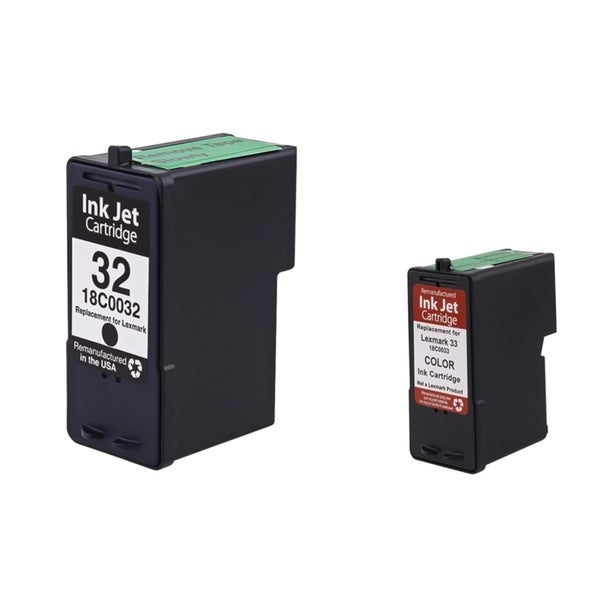 Lexmark 32/ 33 Black/ Color Ink Cartridge for Lexmark X8350/ X5470 (Pack of 2)