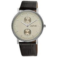 August Steiner Men's GMT Leather Silver-Tone Strap Quartz Watch