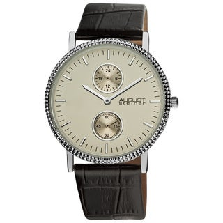 August Steiner Men's GMT Leather Silver-Tone Strap Quartz Watch