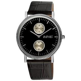August Steiner Men's GMT Leather Black Strap Quartz Watch