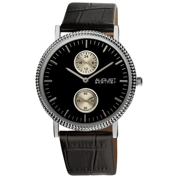 August Steiner Men's GMT Leather Black Strap Quartz Watch