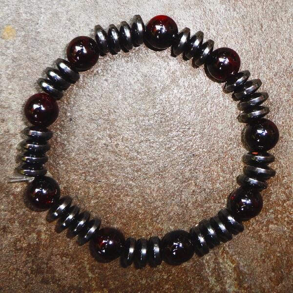 Pavcus Designs Garnet and Hematite Gemstone Stretch Bracelet