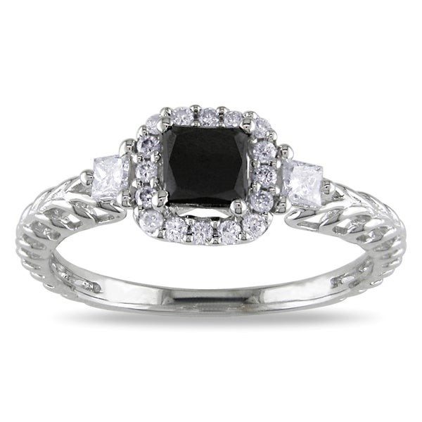 Miadora 14k White Gold 5/8ct TDW Black and White Diamond Engagement Ring (G-H, I1-I2)