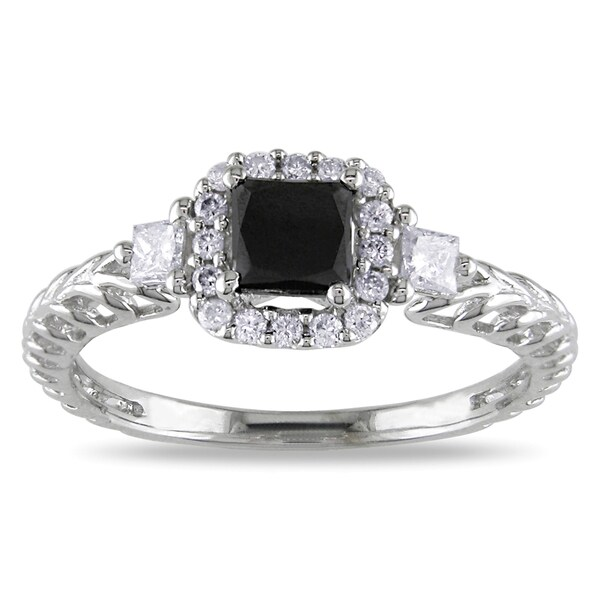 Miadora 14k White Gold 5/8ct TDW Black and White Diamond Engagement Ring