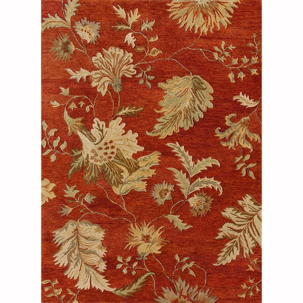 Hand-tufted Ferring Red Wool Rug (7'10 x 11'0)