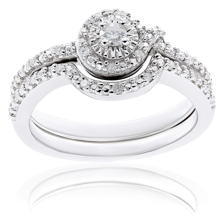 Miadora Sterling Silver 1/7ct TDW Diamond Bridal Ring Set...