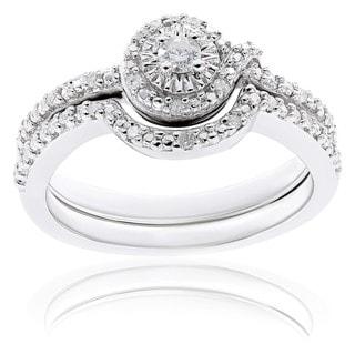 Miadora Sterling Silver 1/7ct TDW Diamond Bridal Ring Set