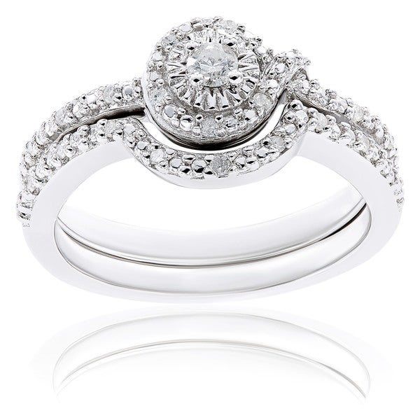 Miadora Sterling Silver 1/7ct TDW Diamond Bridal Ring Set