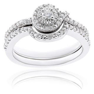 miadora sterling silver 17ct tdw diamond bridal ring set - Diamond Wedding Ring Sets