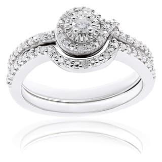 miadora sterling silver 17ct tdw diamond bridal ring set - Diamond Wedding Rings Sets