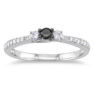 Miadora Sterling Silver 1/3ct TDW Black and White Diamond Ring