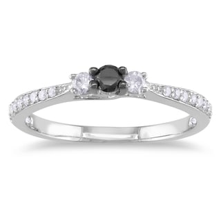 M by Miadora Sterling Silver 1/3ct TDW Black and White Diamond Ring (H-I, I2-I3)