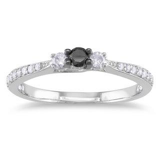 Miadora Sterling Silver 1/3ct TDW Black and White Diamond Ring (H-I, I2-I3)